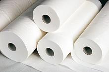 Liegenkrepp 39cm breit : 50m lang weiß, 2-lagig, Karton a 9 Rollen