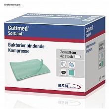 Cutimed® Sorbact® Kompressen steril 7x9cm; Pack. mit 42 Stück